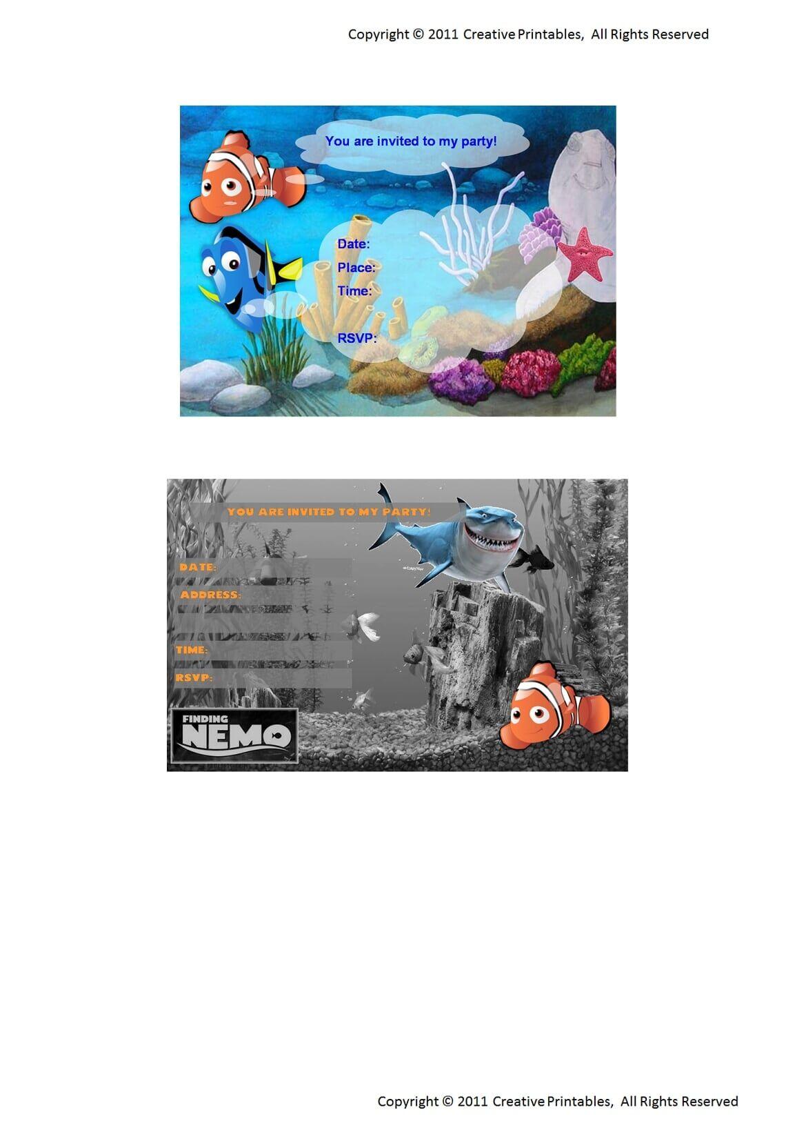 Finding Nemo Extra Invitations.pdf - OneDrive | dory | Pinterest ...