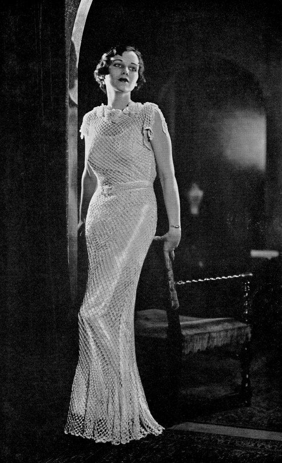 Pdf Pattern Vintage 30s Crochet Crocheted Wedding Gown Dress
