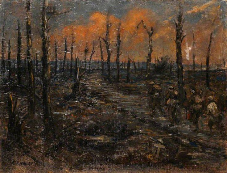 Image result for ww1 trenches forests painting