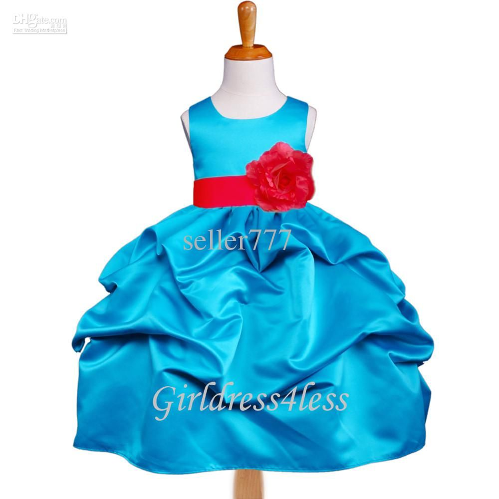Girl Dress Buy TURQUOISE RED WEDDING PICK UP FLOWER GIRL DRESS ...