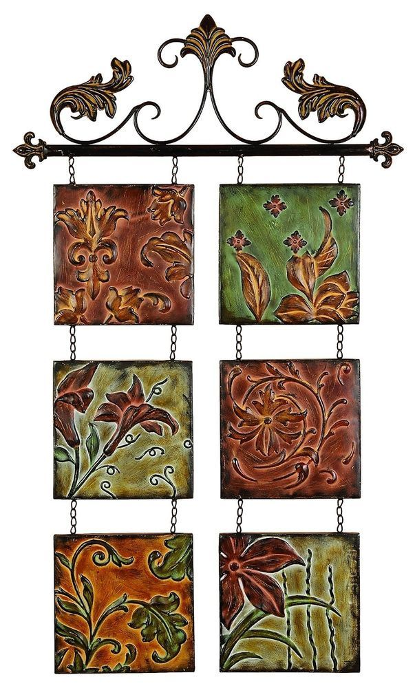 Embossed Tiles Wall Decor Metal Wall Decor Botanical Scroll Metal99204 #deco79  Tuscan