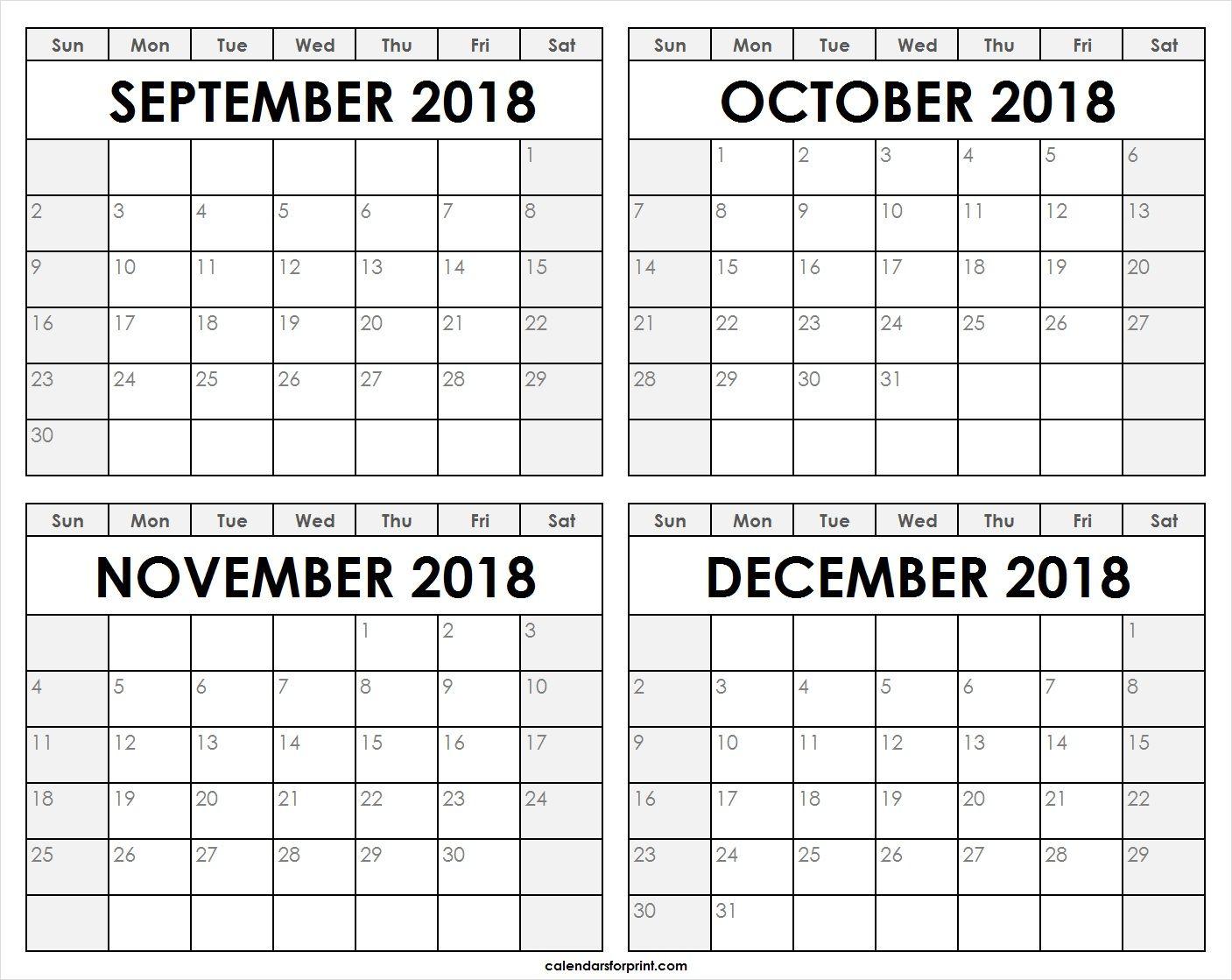 September October November December 2018 Calendar December