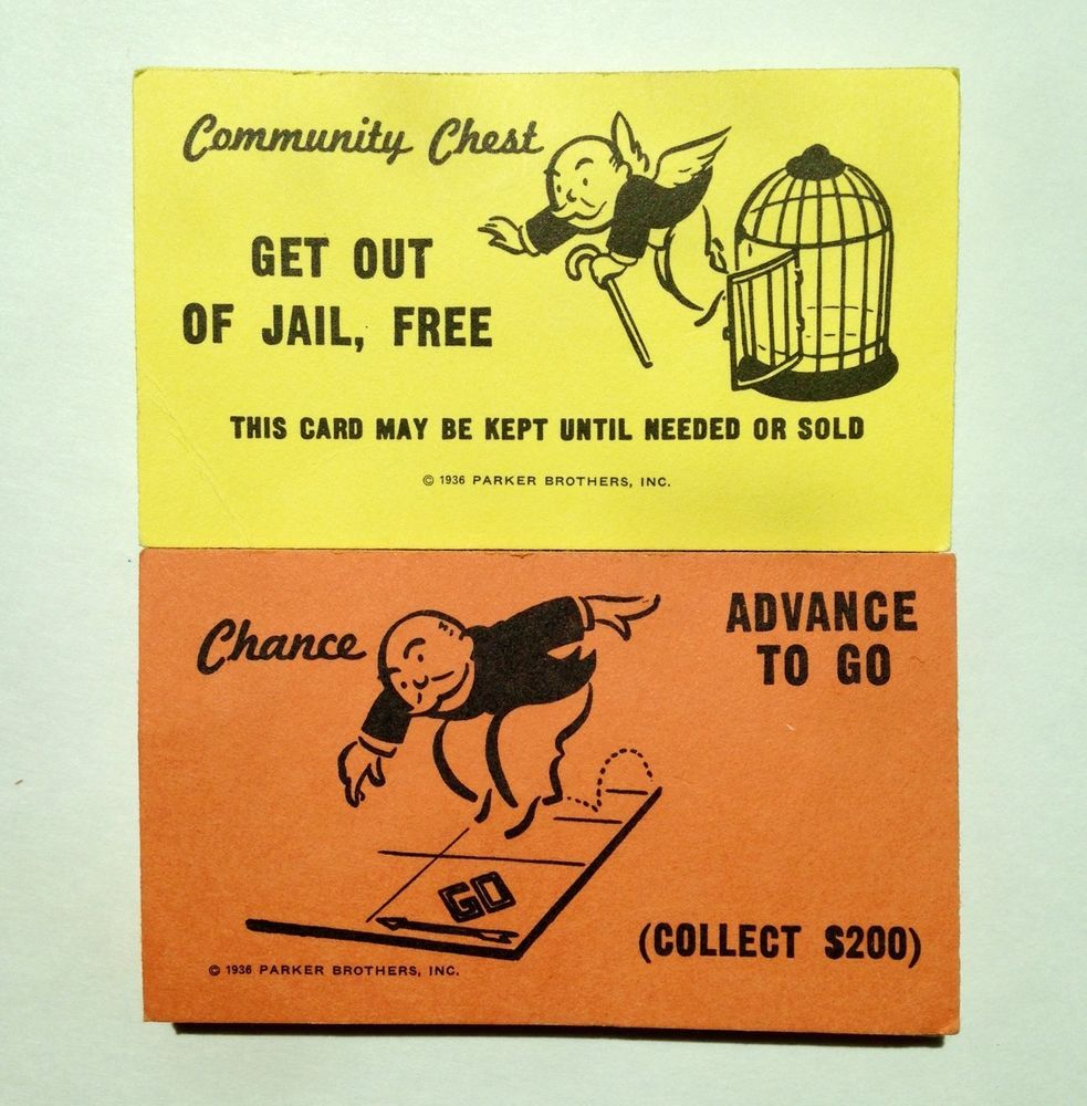 Monopoly Replacement Chance & Community Chest Cards Full