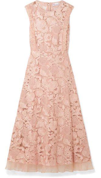 Redvalentino Organza Trimmed Guipure Lace Midi Dress
