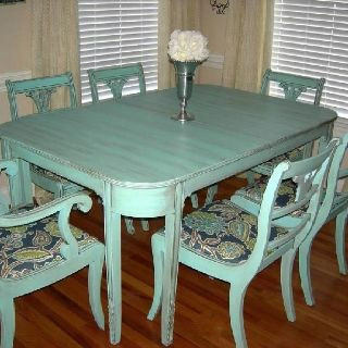 "Antique dining table set we gave it the ""aged to perfection"