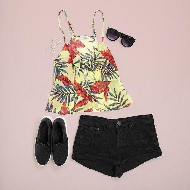 Feeling all Tropi-Cali in the Silhouette Tank Top + Los Feliz Distressed Denim Shorts ✌️ #flatlay #ootd