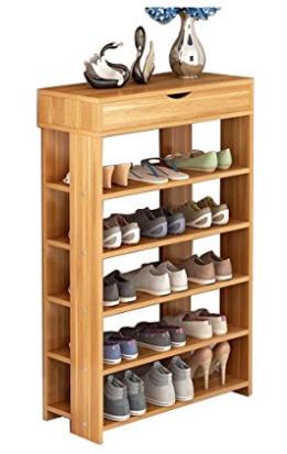Dland Shoe Racks 5 Tier 1 Cabinet Multi Function Economy Storage Rack Wood Shelf Organizer Shoe Storage Shelf Shoe Rack Wooden Shoe Storage