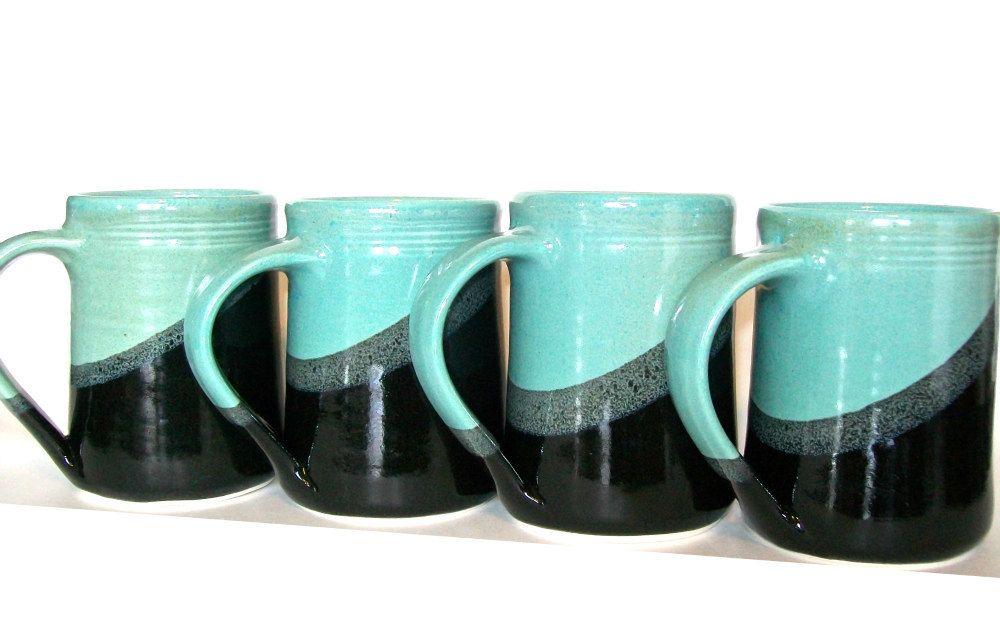 Set of 4 -16 oz Handmade Ceramic Mug -- Aqua - Black-- Hand crafted pottery-- Mugs for tea, cocoa, coffee. $60.00, via Etsy.