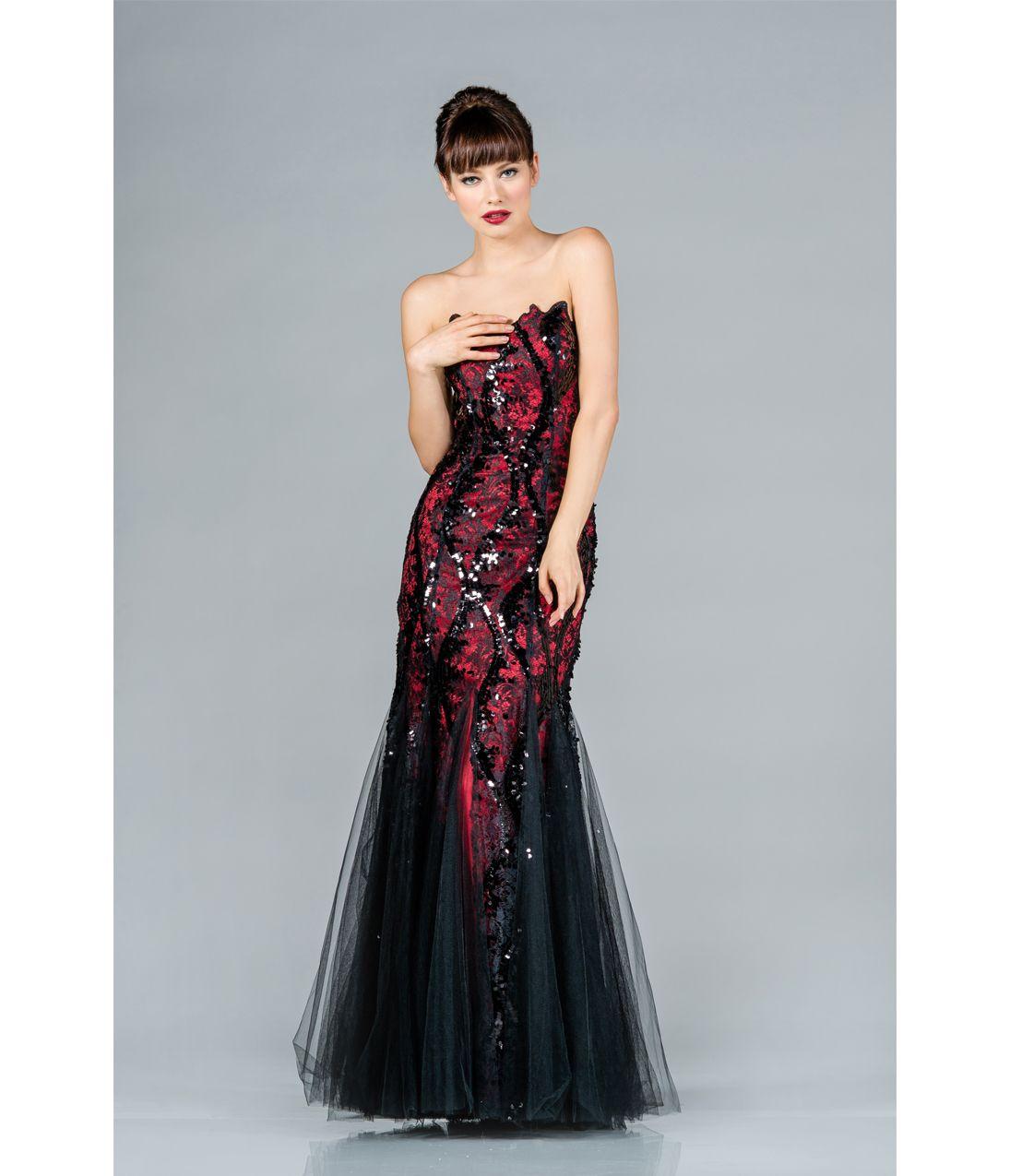 Black & Red Strapless Mermaid Prom Dress | Evening Dresses | Pinterest