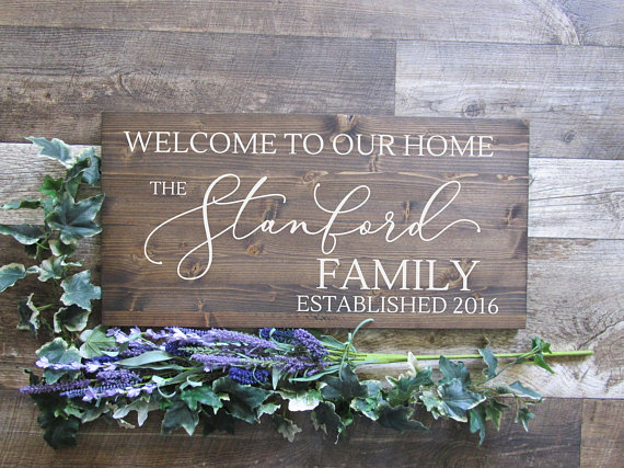 Family Name Wood Sign Welcome To Our Home Family Wood Sign Personalized Last Name Wood Sign 12x24 Family Wood Signs Personalized Wood Signs Last Name Wood Sign