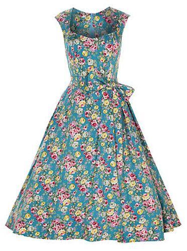 Kjoledamen - Grace, elegant turkis 50 talls kjole med blomster