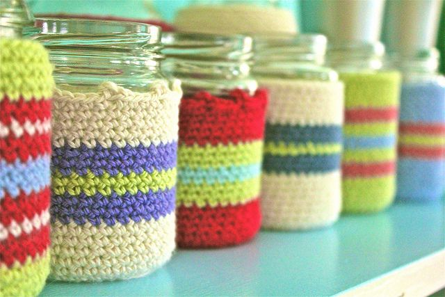 images about Storage Jar Covers Crochet Jar