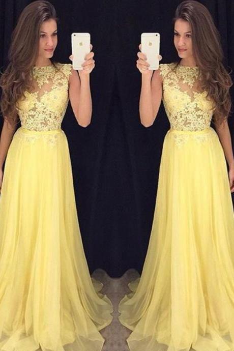 Prom Dresses, Yellow Prom Dresses 2016, Long Yellow Prom Dress, Yellow Chiffon Long Prom Dress, Yellow Evening Dress