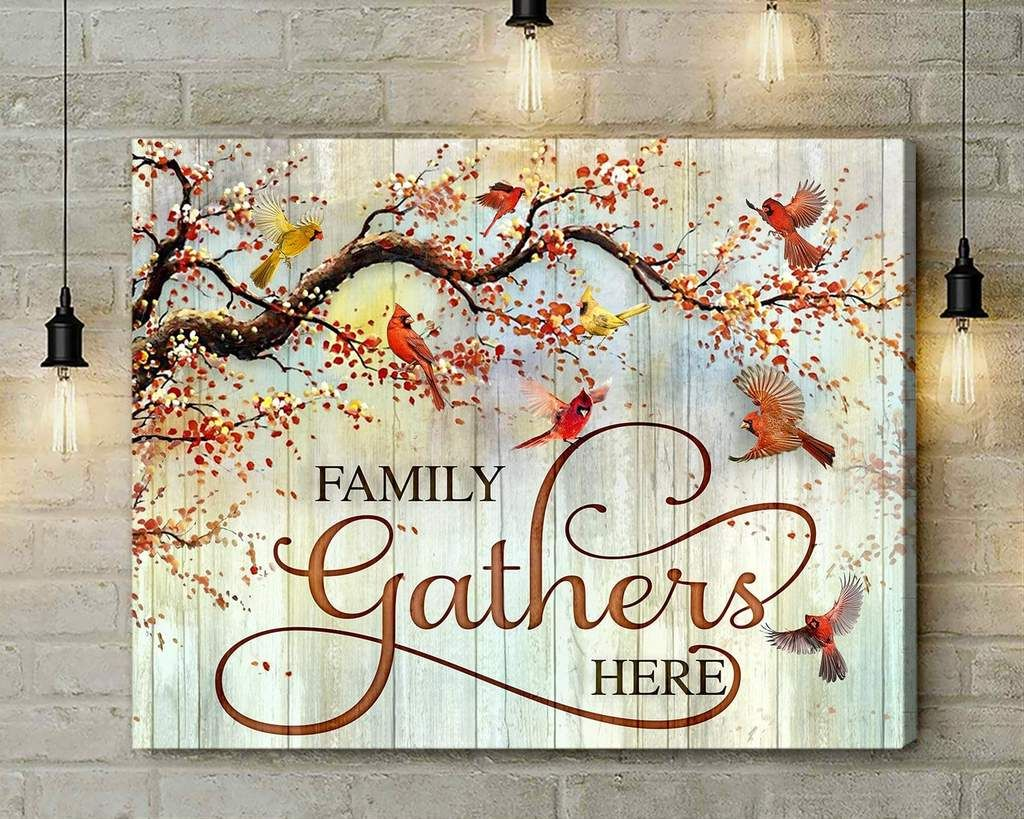 Canvas Cardinal Family Gathers Here Canvas Wall Art Custom Wall Art Canvas Art
