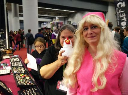 Google+ Me and a Pink Link with her hand stitched chicken!