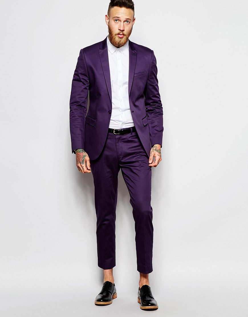 ASOS Skinny Suit In Purple Cotton Sateen | Mens Exclusive Formal ...
