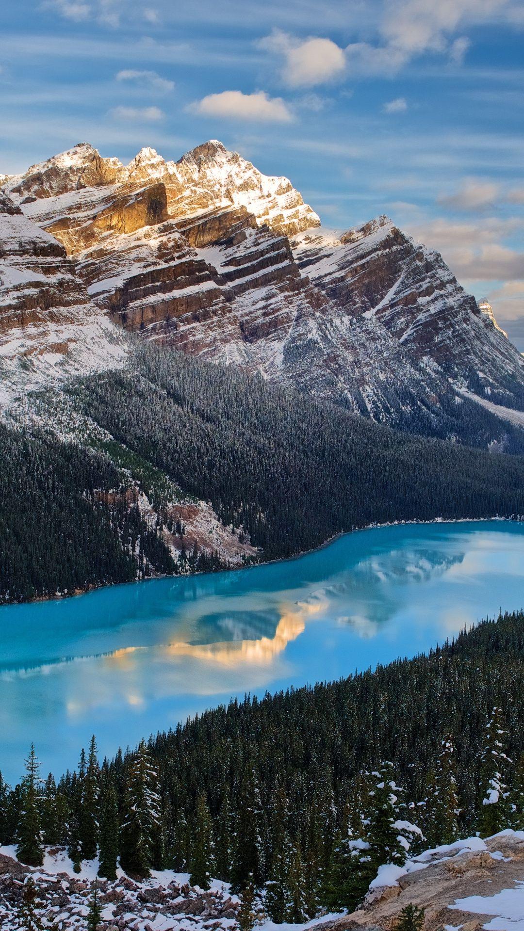 Mountains Nature Blue Water Peyto Lake Canada 1080x1920