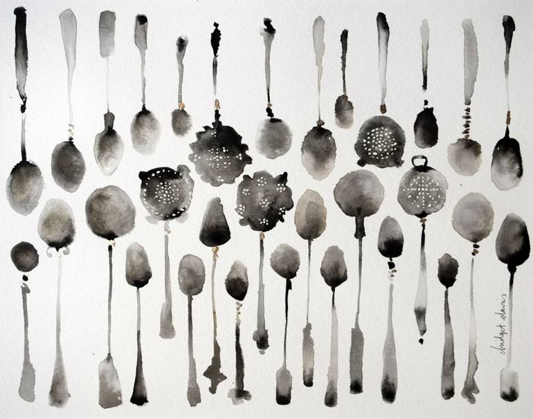 Two Rows Of Spoons And Tea Strainers Painting Strainer Painting