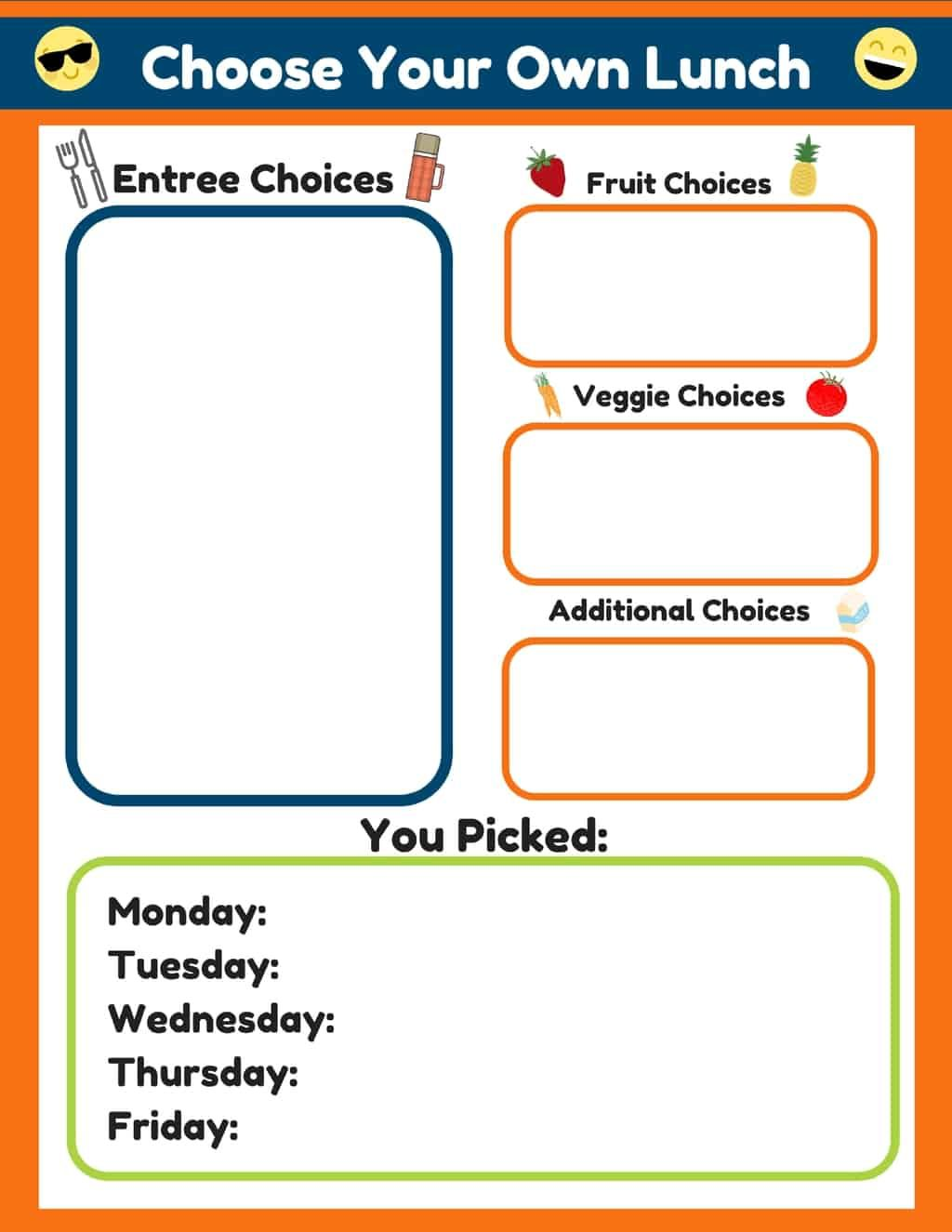 Kids Lunchbox Ideas Choose Your Own Lunch
