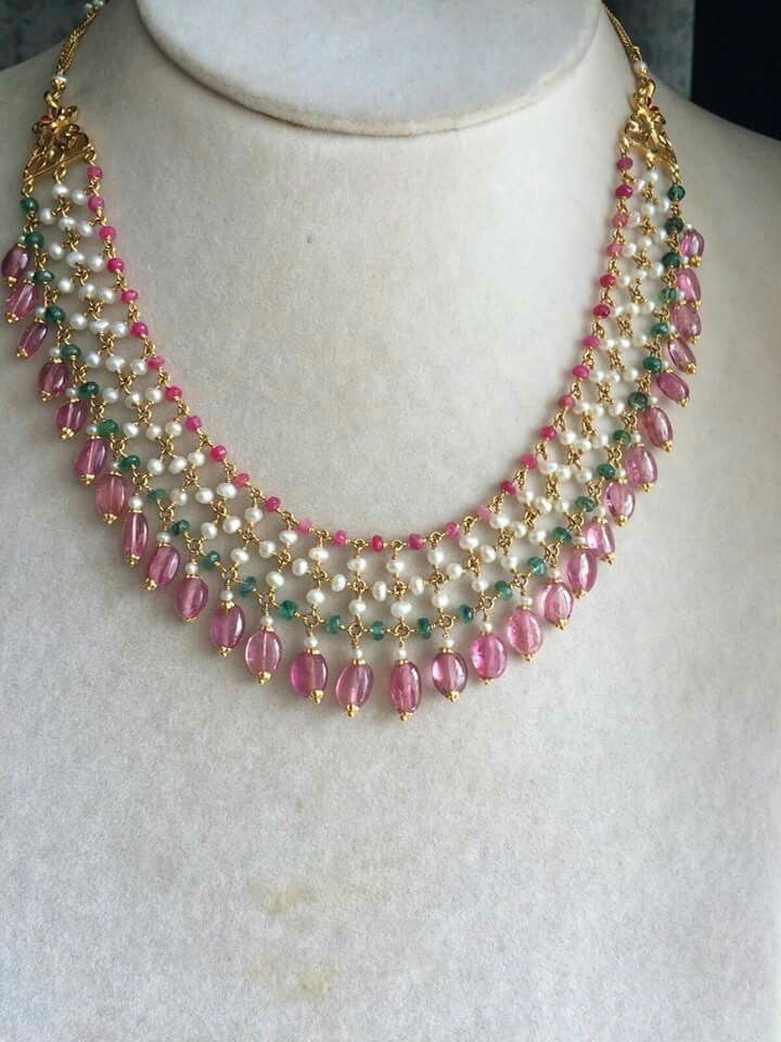 Pearl , ruby and Weald woven necklace | Beaded necklace ...