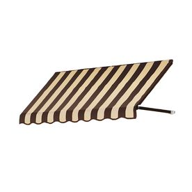 Awntech 5 Ft 4 1 2 In Wide X 2 Ft Projection Brown Tan Striped Open Slope Window Door Awning Door Awnings Windows And Doors
