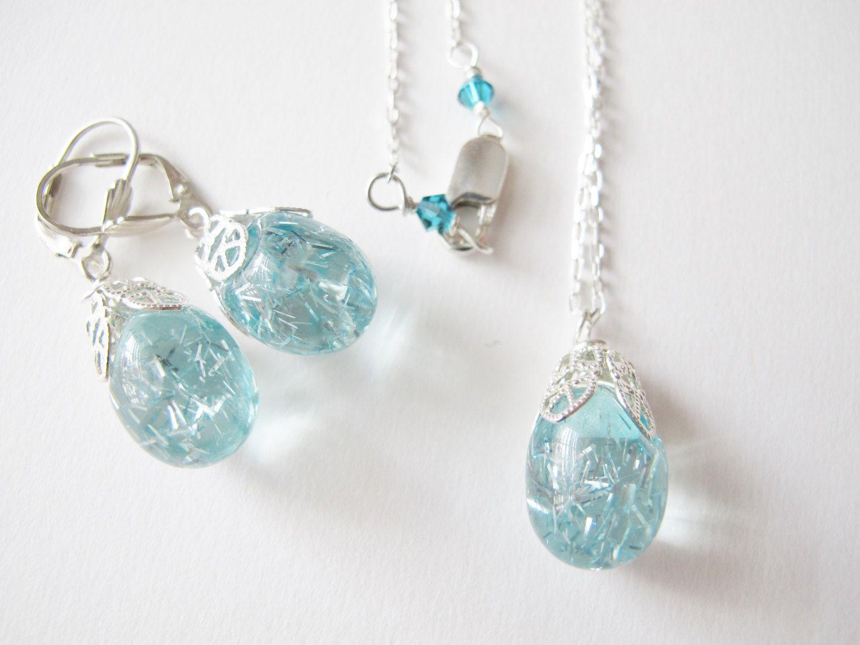 Motherus day birthday giftaquamarine color jewelry setlightweight