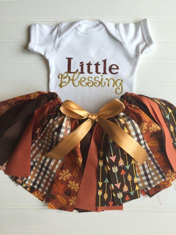 Tenue dautomne  Tenue dautomne pour bébé fille  Tenue de Thanksgiving  Chemise dautomne  Jupe en tutu doré  Tenue Blessing Harvest Onesie  For Aurora...
