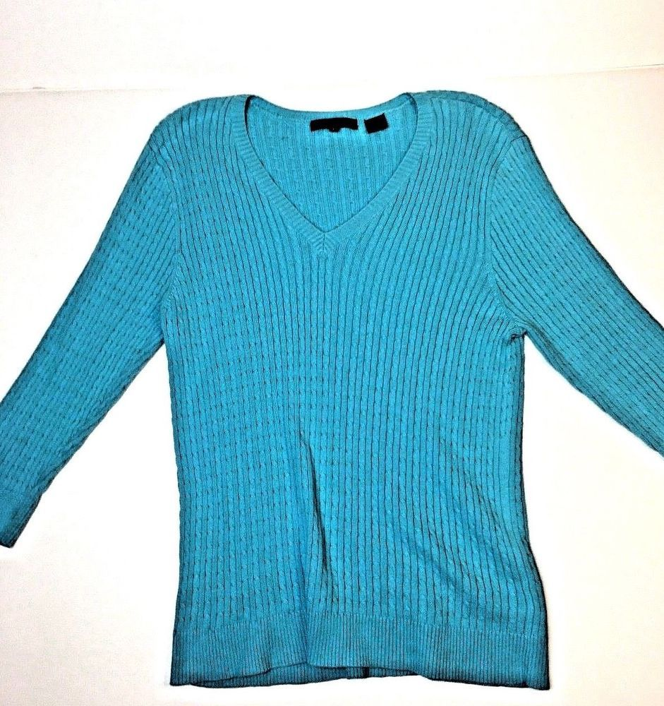 e24f084f316d6 Jeanne Pierre Womens V-Neck Cable Knit Sweater Teal 100% Cotton Size L   fashion  clothing  shoes  accessories  womensclothing  sweaters (ebay link)