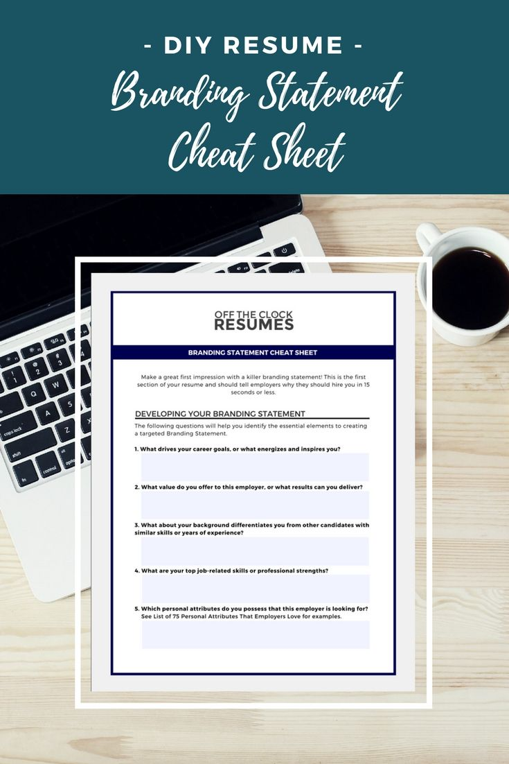 Resume Branding Statement Examples Branding Statement Cheat Sheet