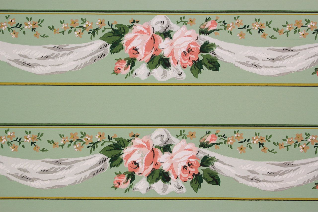Popular Items For Wallpaper Border On Etsy Wallpaper Border Vintage Wallpaper Peach Wallpaper
