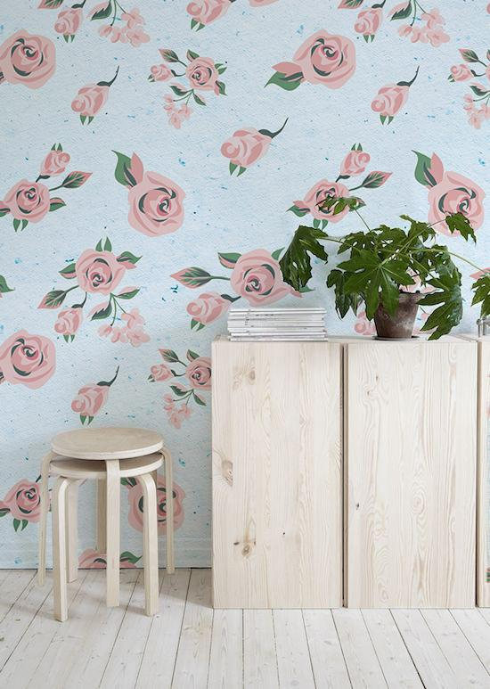 Removable Wallpaper Pastel Flowers Fl Watercolor Temporary