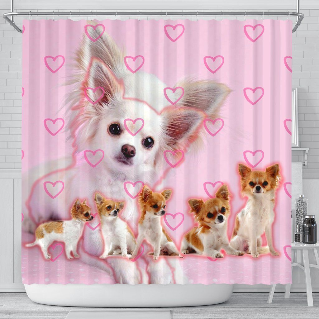 Chihuahua Print Shower Curtains Printed Shower Curtain Shower