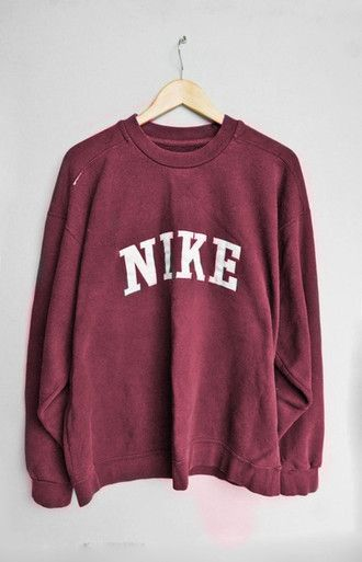 65d06561 sweater pull nike pullover red red sweater nike sweater tumblr jumper  sweatshirt shirt indie vintage burgundy oversized retro slogan casual  oversized ...