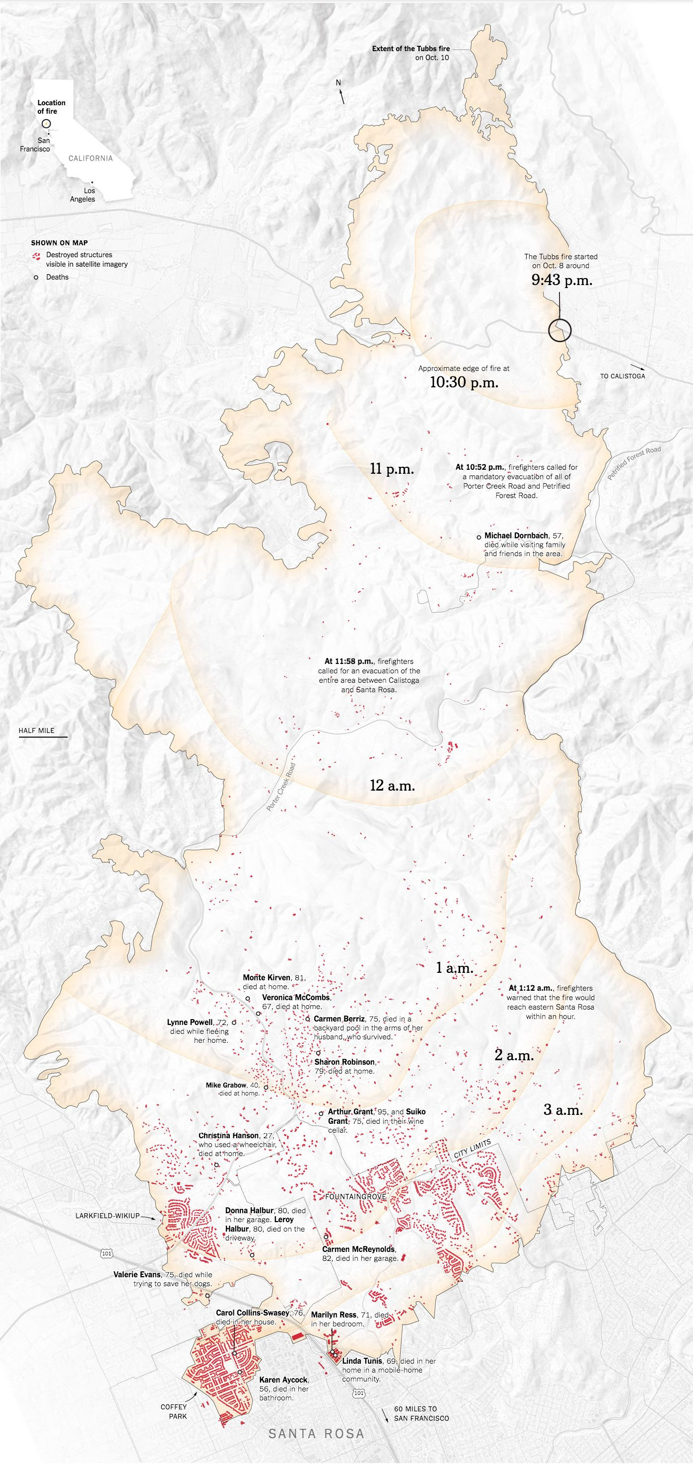 Tubbs Fire Destruction Map Tubbs Fire Pinterest Santa And
