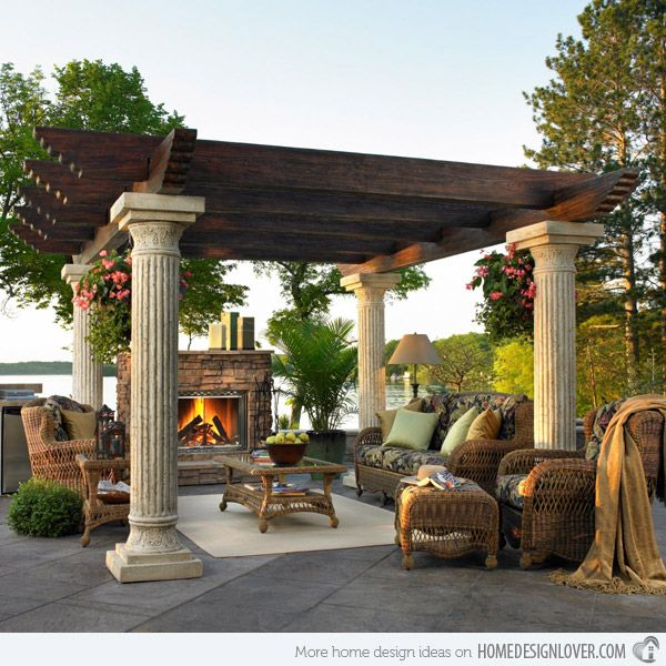 Exterior, Open Living Area in the Pergola: Rustic Open Living Area With Ionic Pergola Design With Fireplace