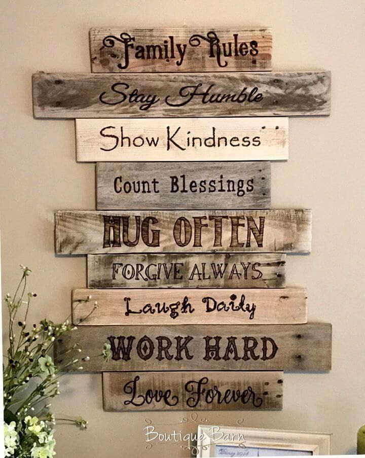 Staggered Distressed Plank Pyrography Art Rustic Wood Wall Decor Easy Home Decor Family Wood Signs