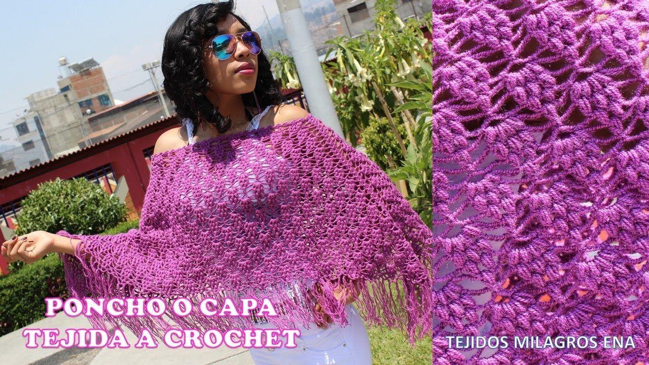 Poncho tejido a crochet para mujer, poncho fácil, capas y ponchos ...