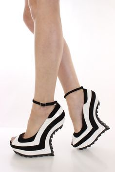Stripped black and white wedges