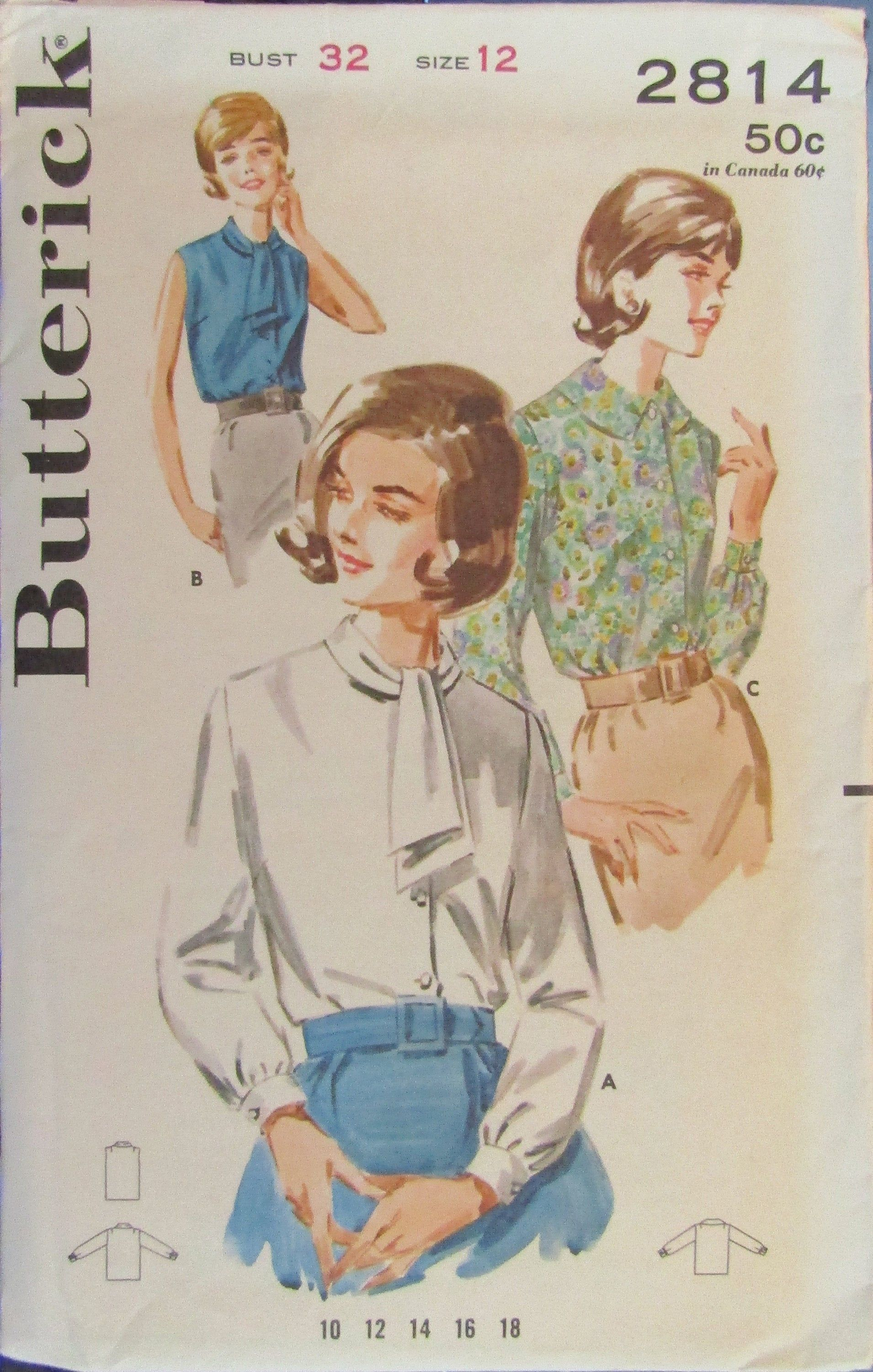 Butterick 2814 Misses Front Buttoned Blouse Sewing Pattern #blousesewingpattern