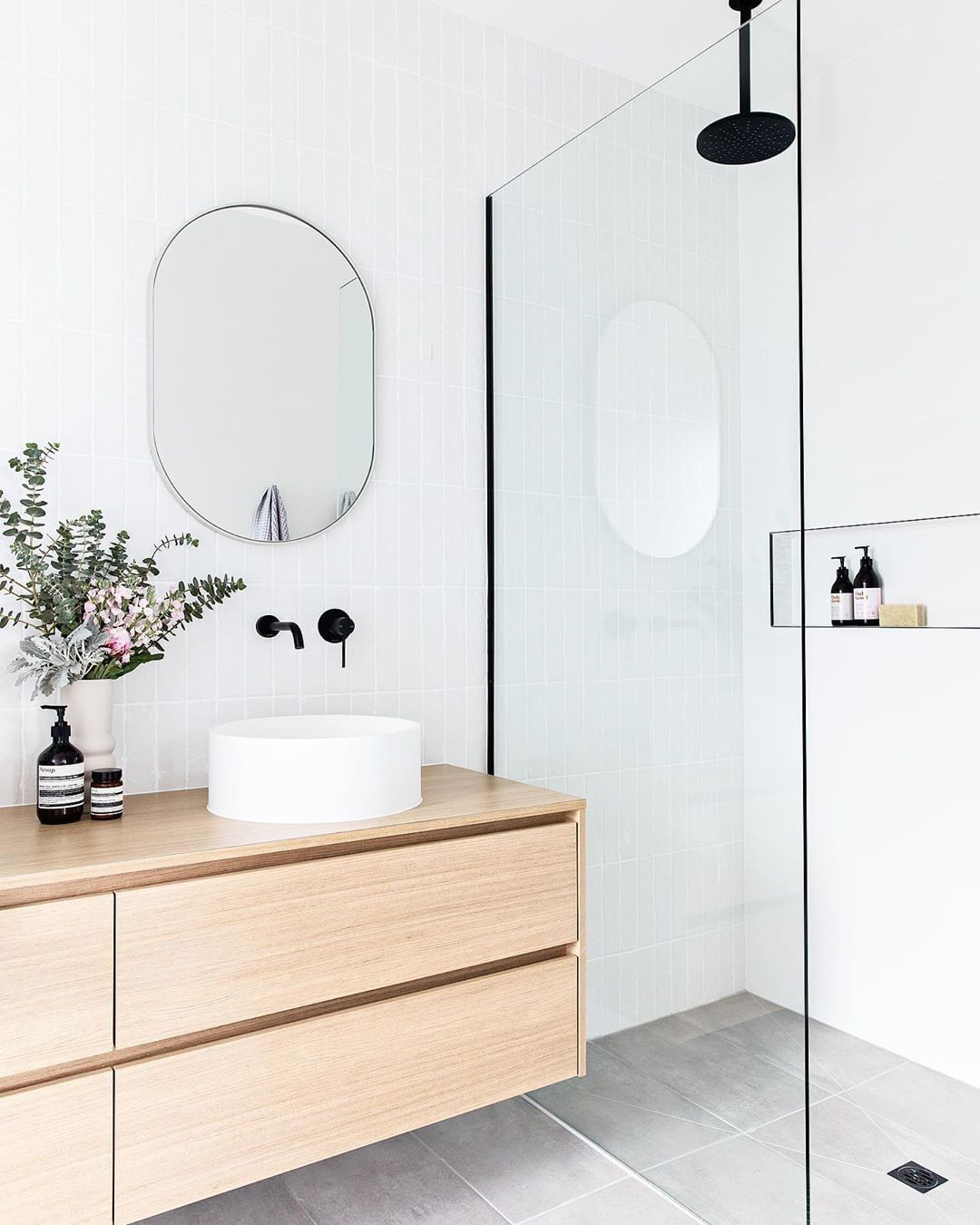 """Photo of Beaumont Tiles on Instagram: """"Who else is ✨ DREAMING✨ of a white, light and bright bathroom like this? Make that dream a reality with our Tribeca Brick, classic Belga…"""""""