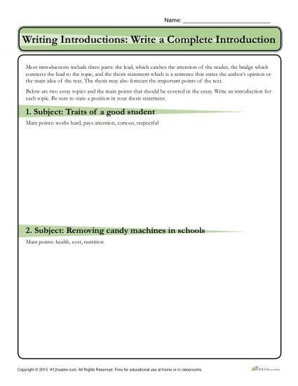 writing an introduction to an essay worksheets
