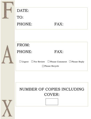 Large Brown Sidebar Letters  Free Printable Fax Cover Sheet