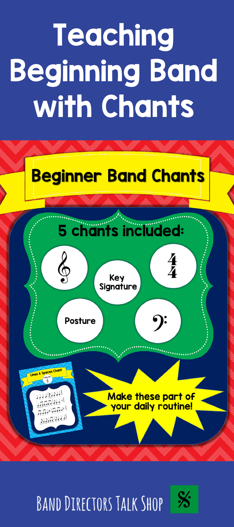 Band Chants Posture Lines Spaces Time Signature Key – Theory Worksheets for Beginning Bands