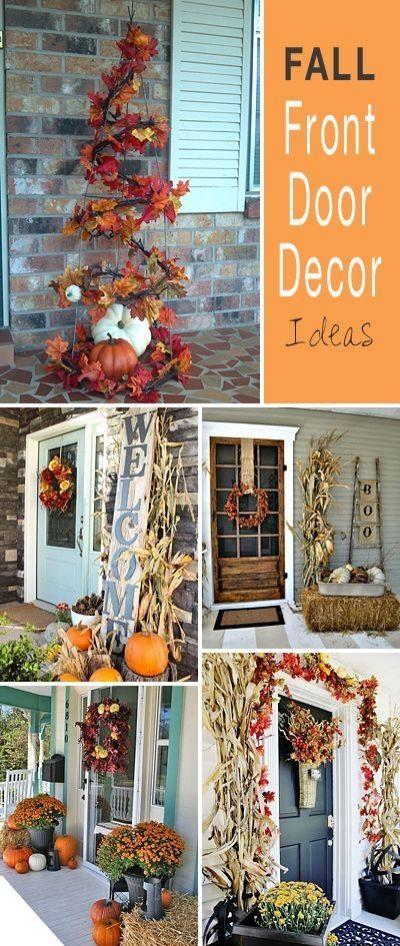 Fall Front Door Decor Ideas Front door decor, Front doors and Weather - decorating front door for halloween