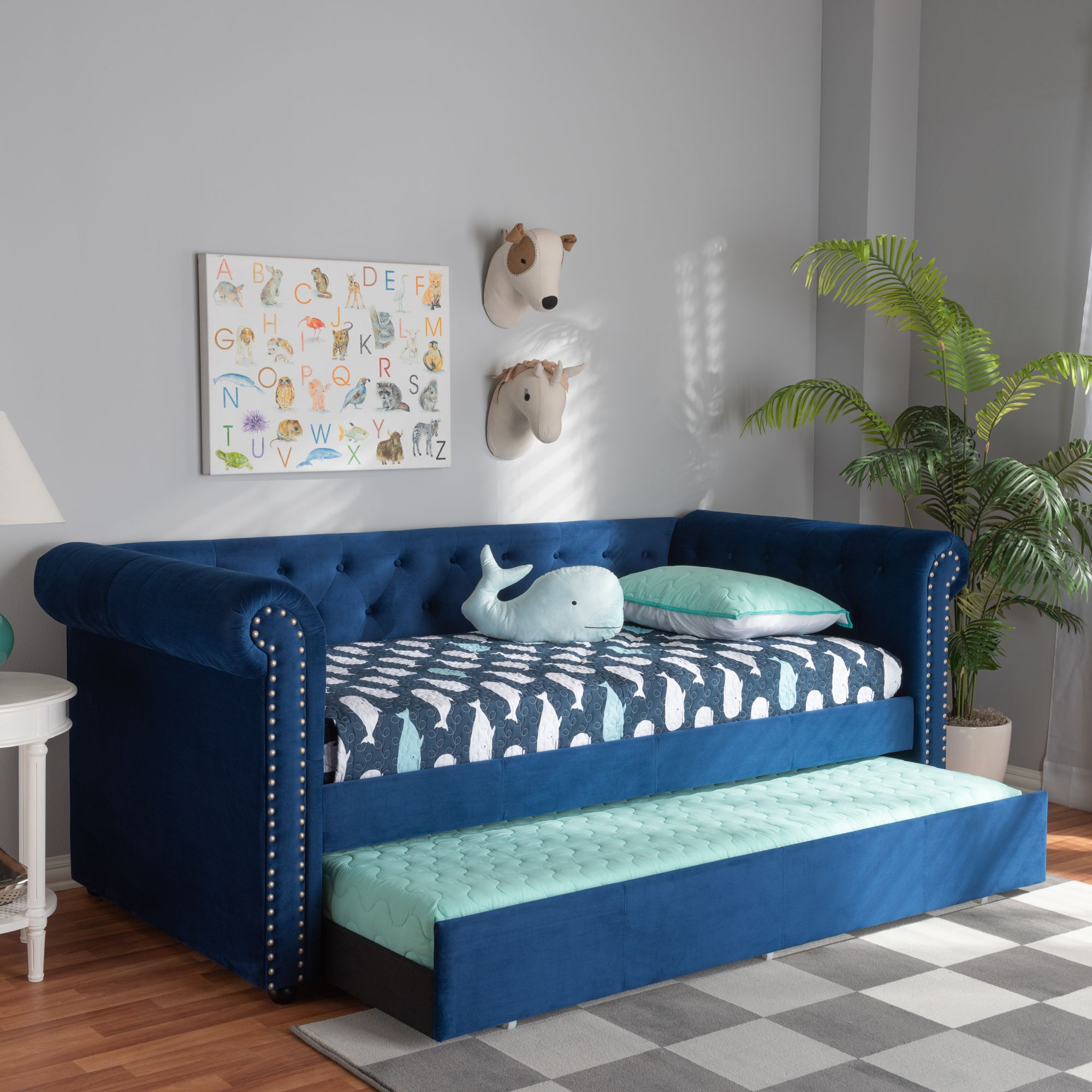 Baxton Studio Mabelle Modern And Contemporary Navy Blue Velvet Upholstered Daybed With Trundle Daybed With Trundle Twin Daybed With Trundle Daybed