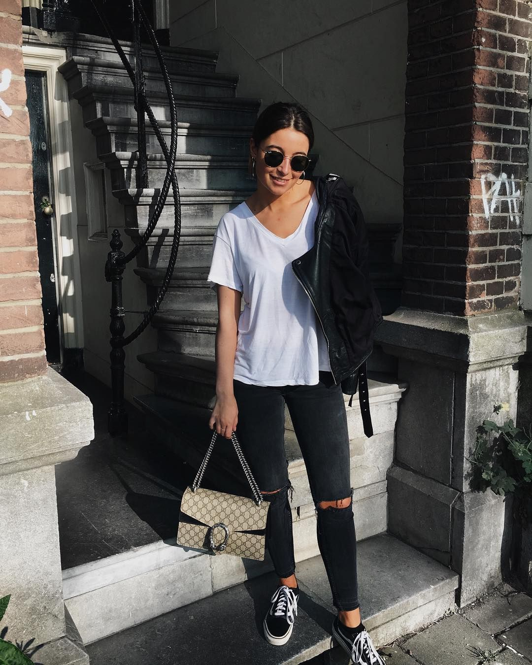 Casual Outfit Inspo With Thia Loose White Tee And Ripped Black Distressed Jeans And Black Vans Casual Outfits Fashion Outfits [ 1350 x 1080 Pixel ]