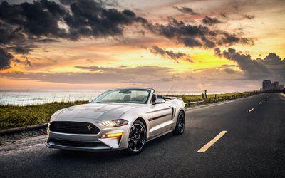 Télécharger fonds d'écran Ford Mustang GT Convertible, 4k, route, 2019 voitures, supercars, la nouvelle Mustang, Ford besthqwallpapers.com