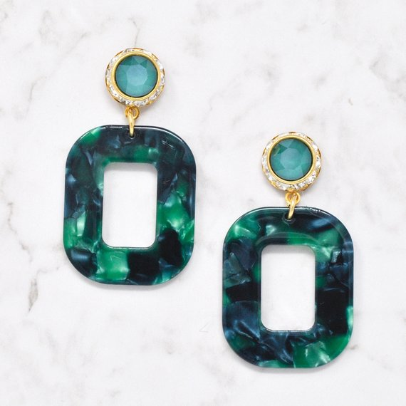 Green and Yellow Snakes of Death teardrop earrings