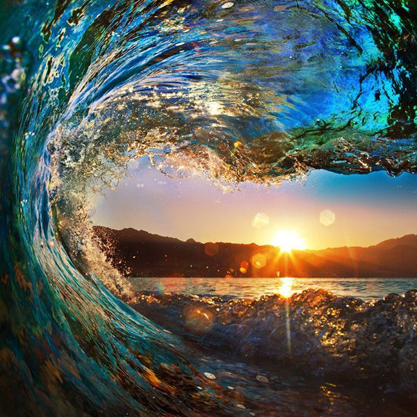 3d Waves Sea Sunset Wallpaper Wp201 Sunset Wallpaper Water Sunset Scenery