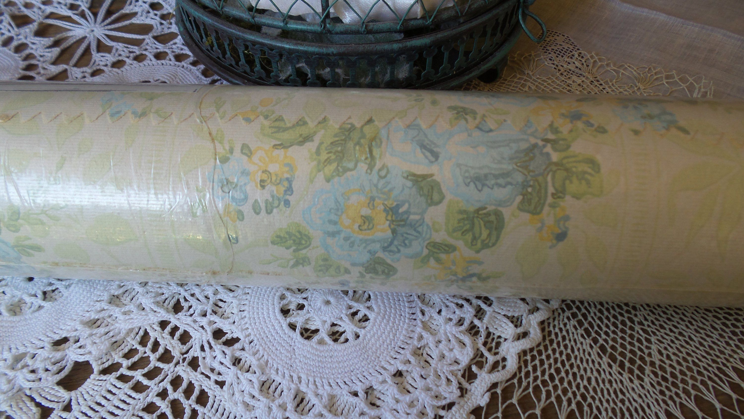 Vintage Floral WALLPAPER, Sherwin Williams, Blue and ...